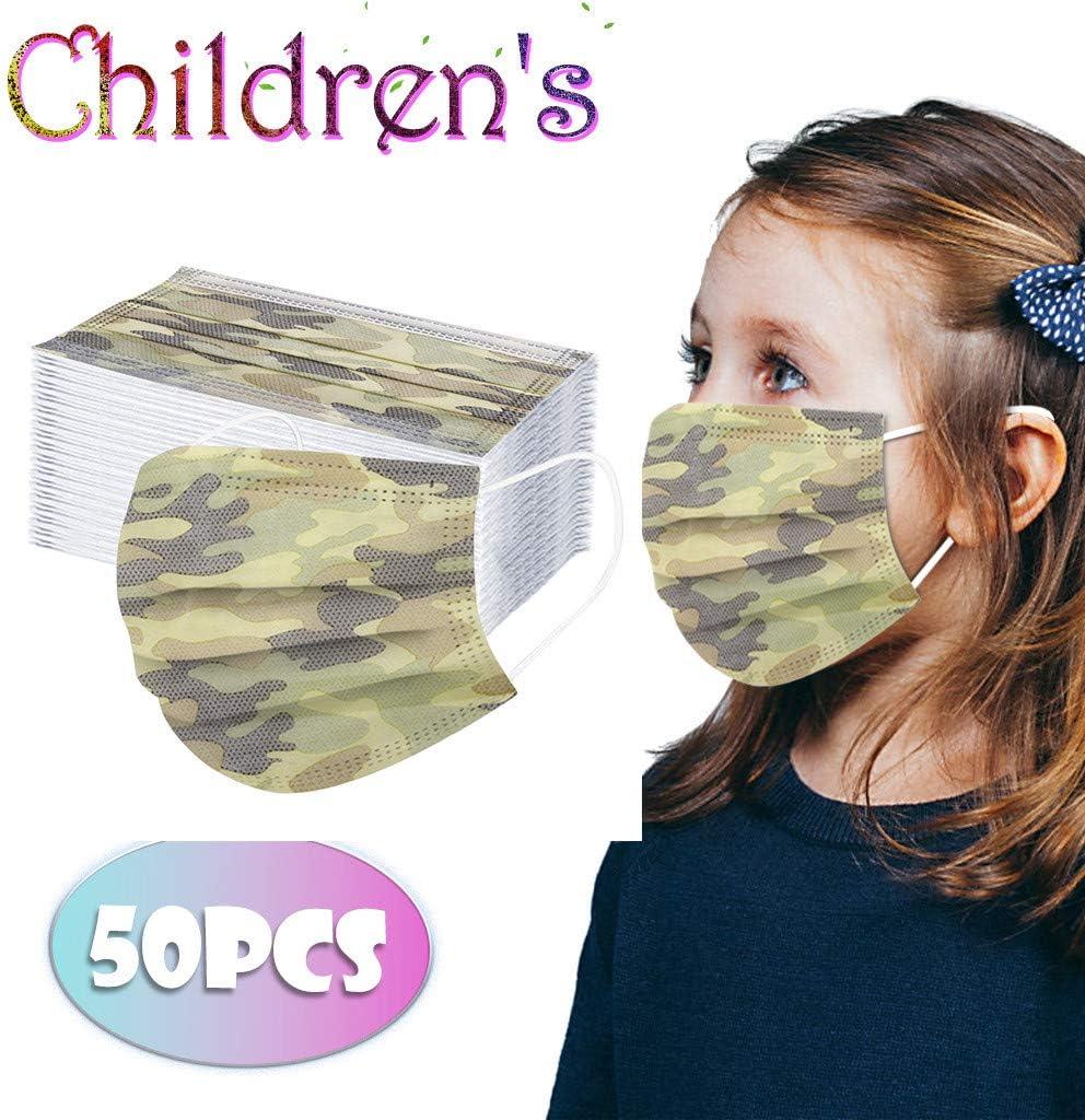 Gpure 50PC//Pack Infantiles Ni/ños Tela No Tejido de 3 Capas MA Camuflaje Verde Militar Deporte Aire Libre El/ástica Protectora Ni/ño Ni/ña Bufanda