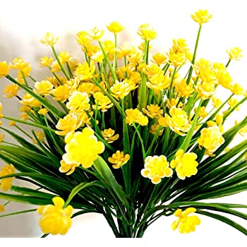 Amazon 6pack artificial flower yellow fake daffodils fake 6pack artificial flower yellow fake daffodils fake flower greenery shrubs plants plastic bushes indoor outside decor mightylinksfo