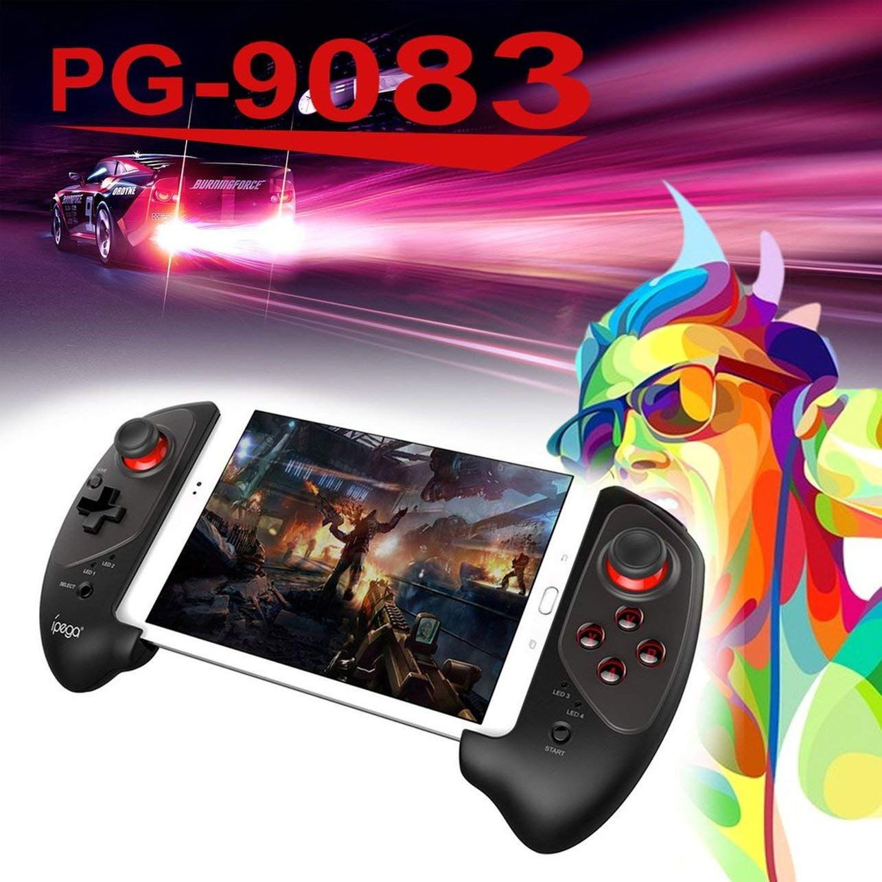 Ipega PG-9083 Red Bat Bluetooth Game Pad for Android for Switch(Color:Black) WOSOSYEYO