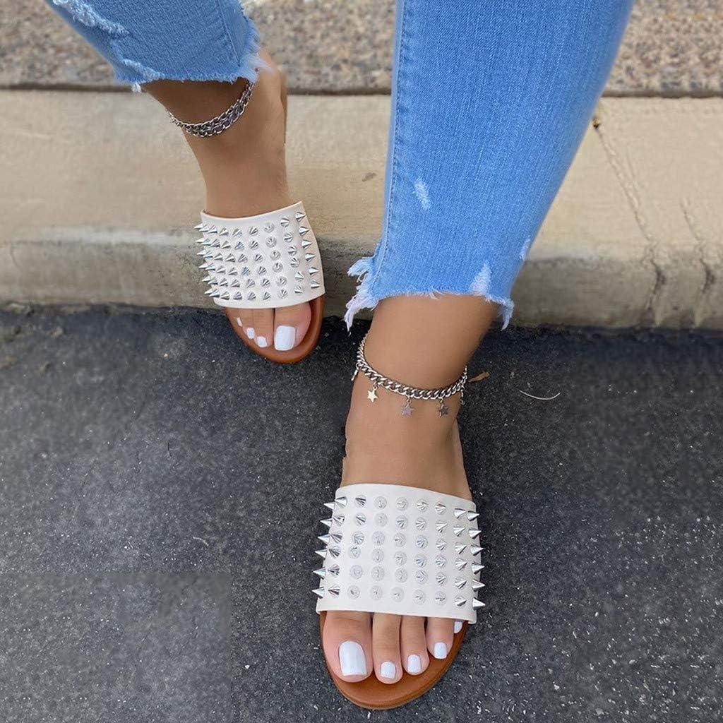 Kinlene Rivetti da Donna Scivoli Pantofole Club Infradito Appartamenti Estivi Paillettes Cristallo Scarpe da Spiaggia Antiscivolo Scivoli Sandali Comodi da Donna Bianca