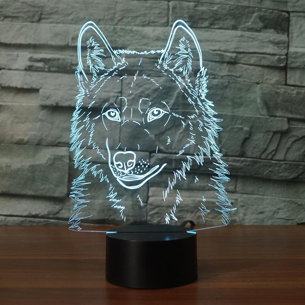 3D Wolf Head Night Light Touch Table Desk Optical Illusion Lamps 7 Color Changing Lights Home Decoration Xmas Birthday Gift by SUPERIORVZND