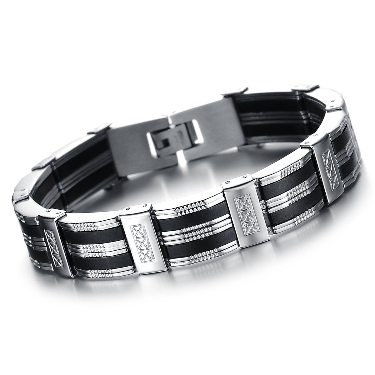 Oidea Mens Stainless Steel Rubber Bracelet Link Wrist Silver Black Tone,8.27 Inch O040031CA