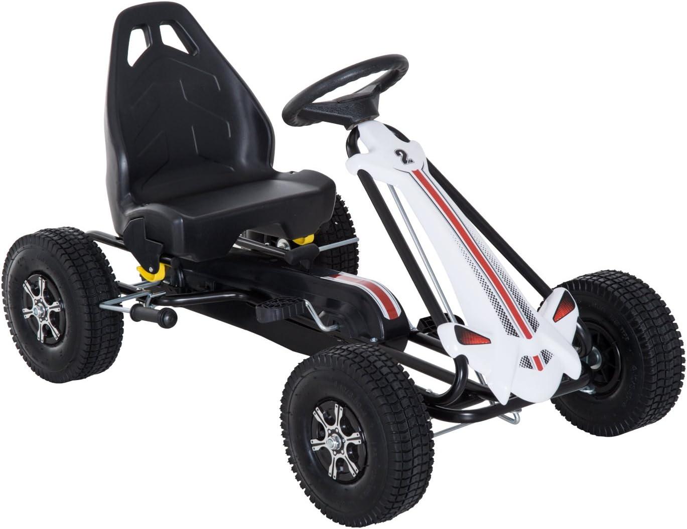 Coche de Pedales Go Kart Racing Deportivo con Asiento Ajustable Embrague y Freno Juguete Exterior 103x64x59.5cm Marco Hierro Blanco y Negro