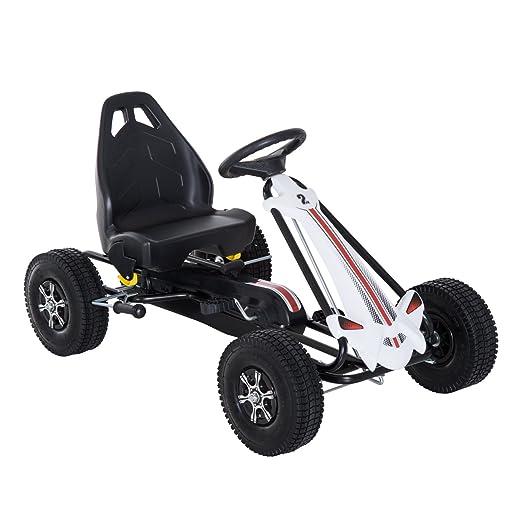HOMCOM Coche de Pedales Go Kart Racing Deportivo con Asiento Ajustable Embrague y Freno Juguete Exterior 103x64x59.5cm Marco Acero Blanco y Negro: ...