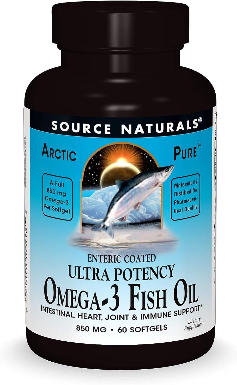Source Naturals ArcticPure Enteric-Coated Ultra-Potency 850 mg Omega-3 Fish Oil - 60 Softgels