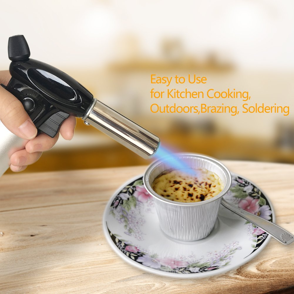 Butane Torch - SUMGOTT Culinary Blow Torch Cooking Kitchen With Adjustable Safest Flame for Pastries, Desserts, Brazing, Soldering, Camping, Welding, Barbecues