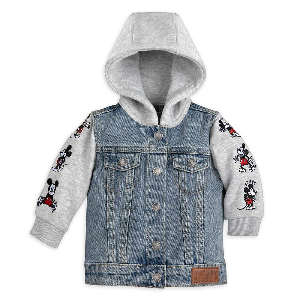 Disney Mickey Mouse Hooded Denim Jacket Size Max 80% OFF Complete Free Shipping for Month Baby 0-3