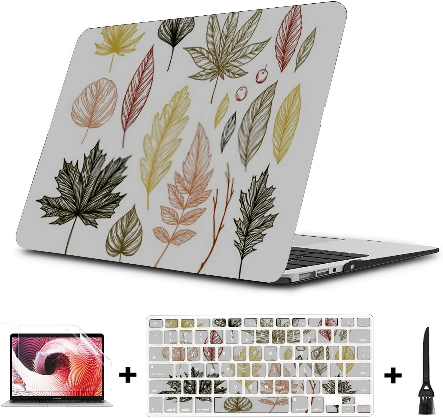 MacBook Pro Case Autumn Hand Drawn Vector Illustrations Set MacBook Retina 12 A1534 Plastic Case Keyboard Cover /& Screen Protector /& Keyboard Cleani