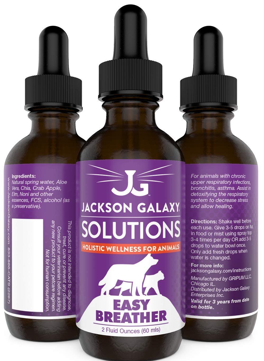Jackson Galaxy: Easy Breather (2 oz.) - Pet Solution - Detoxify and Discharge Toxins - Can Aid with Respiratory Issues (Allergies, Asthma,etc.) - All-Natural Formula - Reiki Energy by Jackson Galaxy