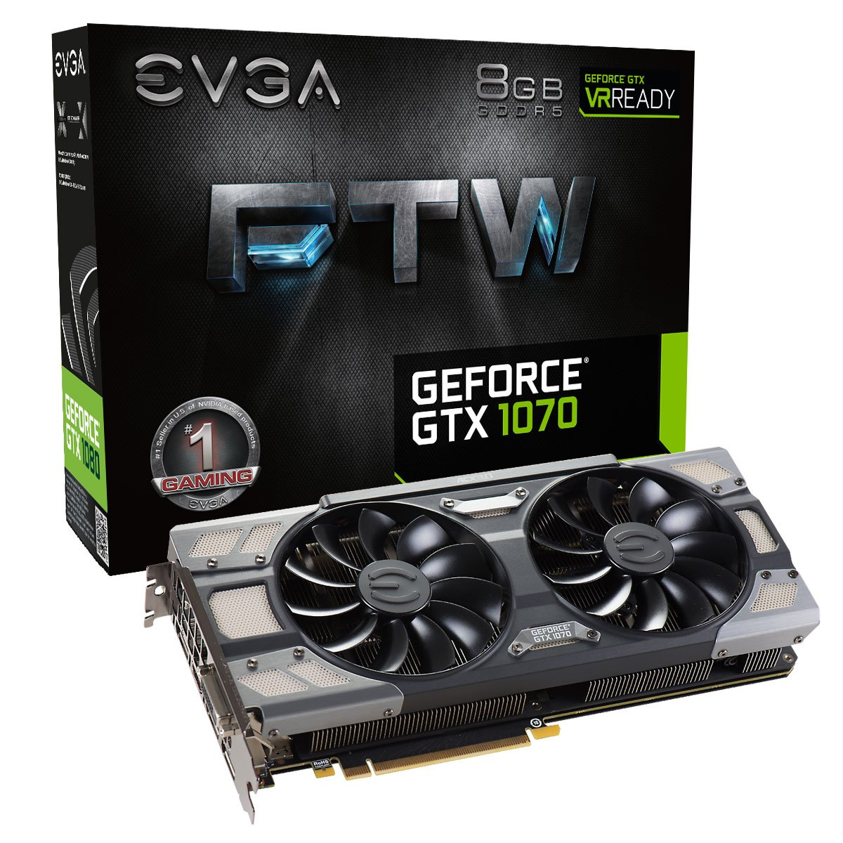 EVGA GeForce GTX 1070 FTW GAMING ACX 3.0, 8GB GDDR5, RGB LED, 10CM FAN, 10 Power Phases, Double BIOS, DX12 OSD Support (PXOC) Graphics Card 08G-P4-6276-KR by EVGA (Image #1)