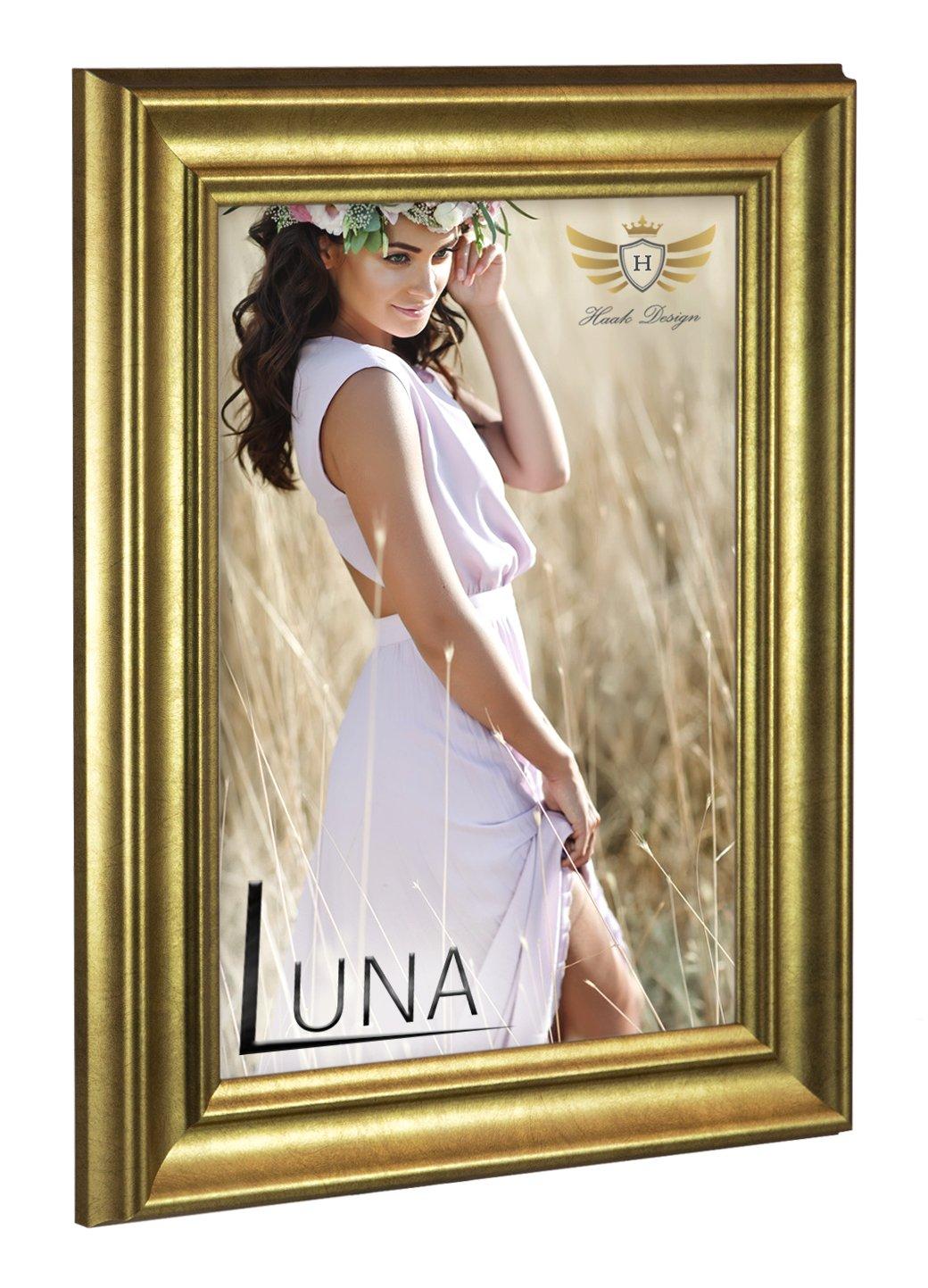 HaakDesign Bilderrahmen mit entspiegeltem Acrylglas (Antireflex) Barockrahmen Luna 59,4x84cm (DIN A1) Blattgold