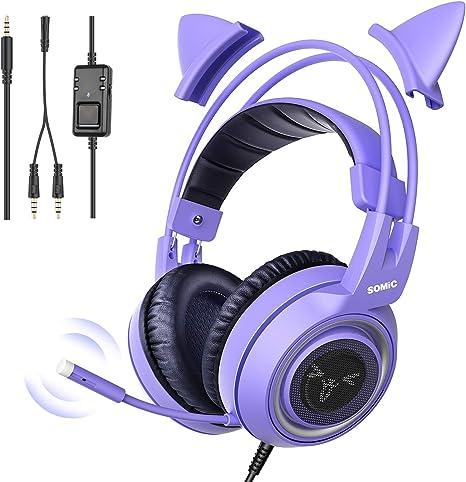 SOMiC G951S Púrpura Auriculares para Juegos con micrófono, Niñas Mujeres, Oreja de Gato extraíble, Auriculares con Control de Volumen para Xbox One, Switch, PS4, iPhone, iPad - Jack de 3,5 mm: Amazon.es: