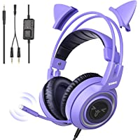 SOMIC G951S Purple Stereo Gaming Headset with Mic for PS4, PS5, Xbox One, PC, Phone, Detachable Cat Ear 3.5MM Noise…