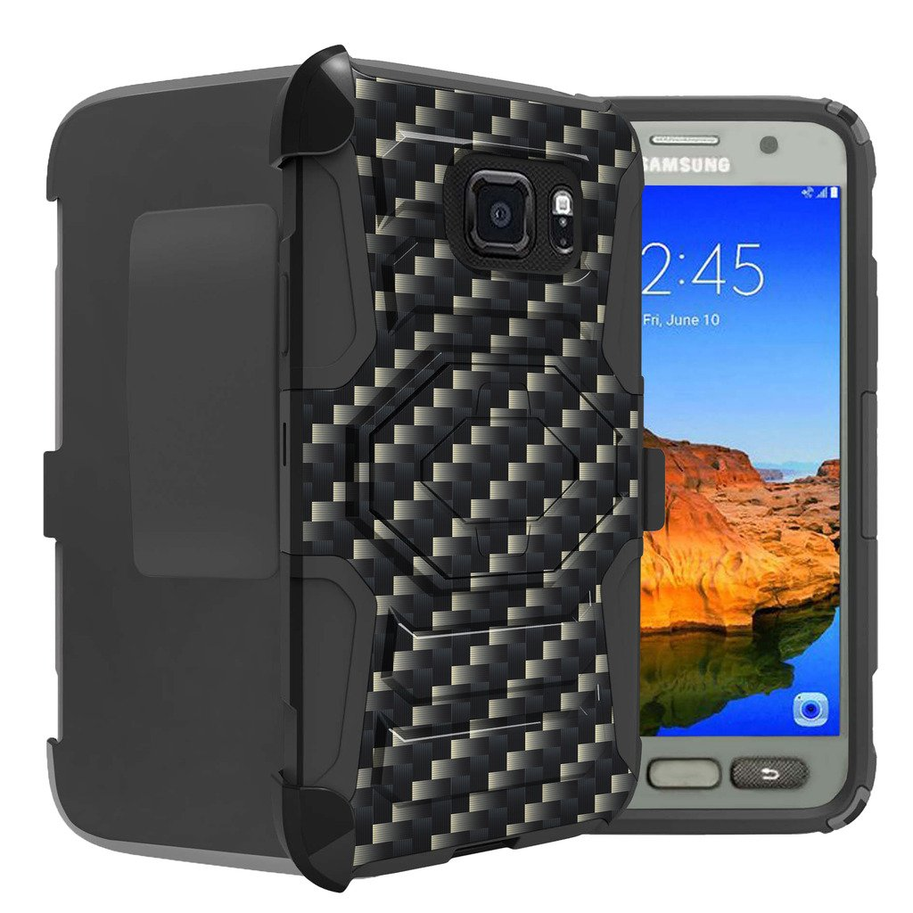 Untouchble Case for Samsung Galaxy S7 Active Case| S7 Active Case [Rugged Holster Case] Clip Case Combo with Built in Kickstand and Silicone Corners - Carbon Fiber