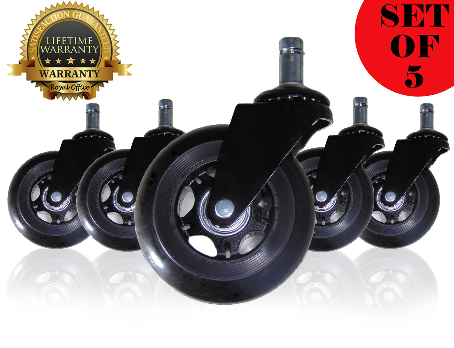 Office Chair Caster Wheels - Rollerblade Style - Set of 5 Polyurethane wheels | SAFE for Hardwood Floors & Provide SMOOTH, EFFORTLESS GLIDE | Tool Free Install | 4 COLORS available