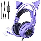Fone de ouvido para jogos SOMIC G951S estéreo com microfone para PS4, Xbox One, PC, celular, som de 3,5 mm removível, orelha