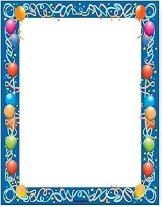 Balloon Border Stationery - 8.5 x 11-60 Letterhead Sheets - Party Theme Printer Paper