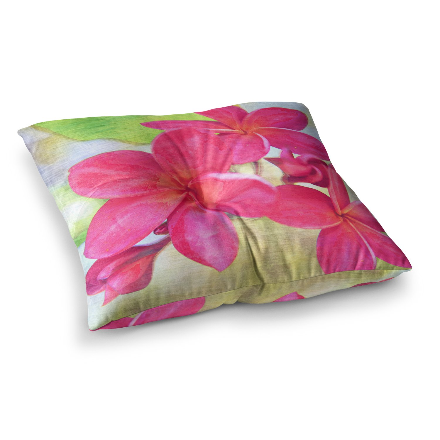 Amazon.com: KESS InHouse Sylvia Cook Plumeria Flower Petals Square ...