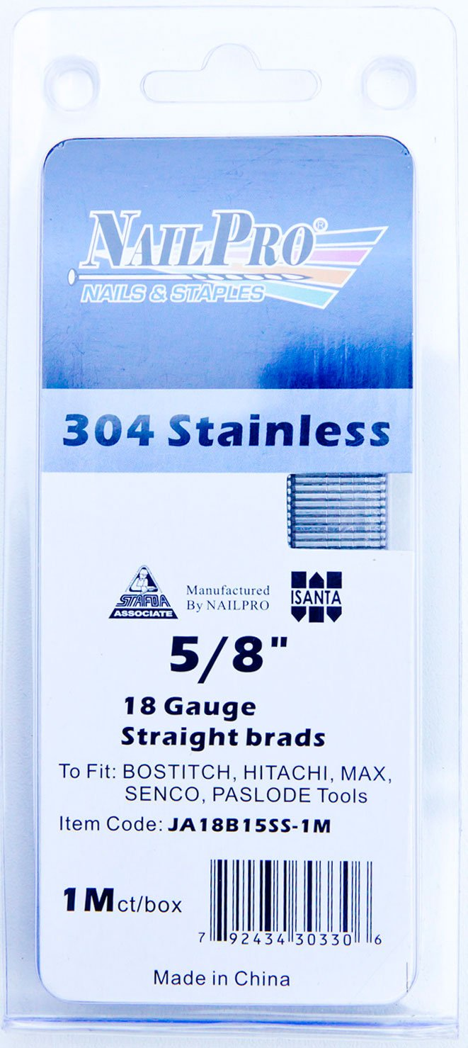 NailPRO 18 Ga x 1' Stainless Steel Brad Nails, 1000 Count