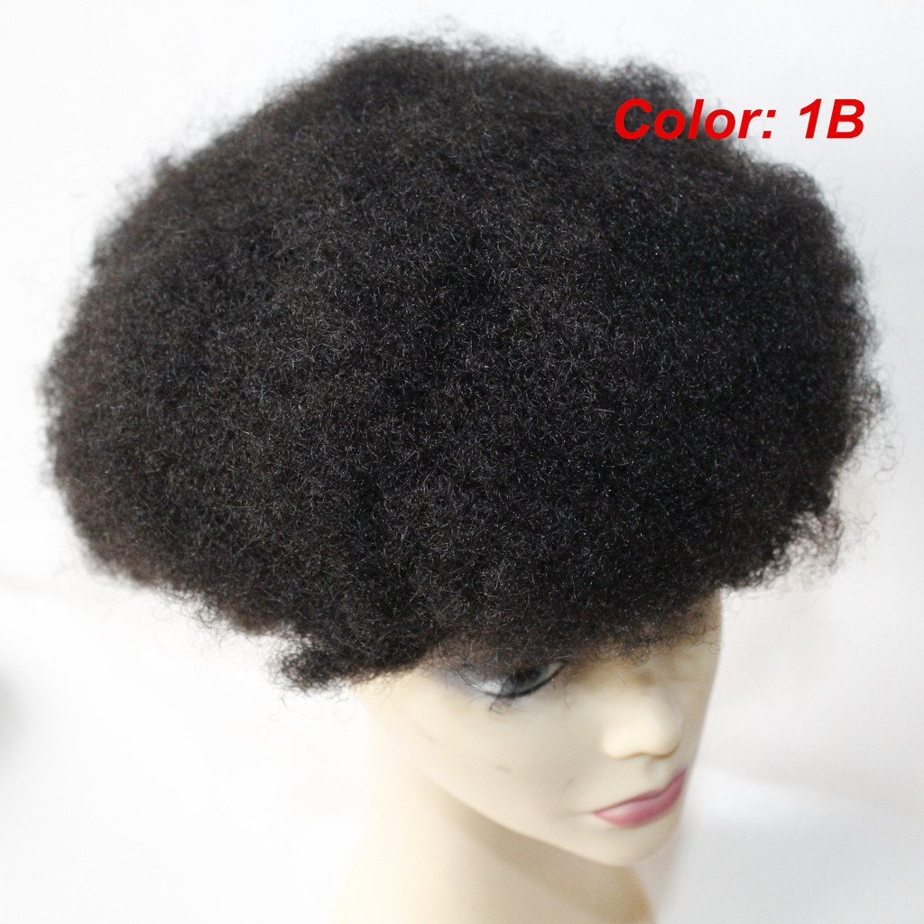 Lumeng Wigs Afro Curl Lace Toupee Hair System for Men Hairpiece Transparent Lace Human Hair African Curly Replacement 110% Medium Density Color 1B