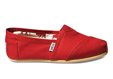 TOMS Womens Red Canvas Classic 001001B07-RED (Size: ...