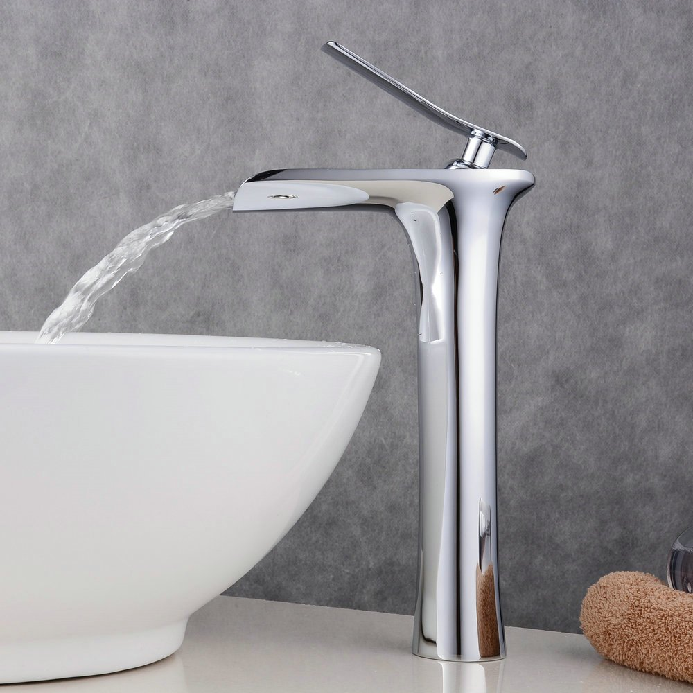 Beelee waterfall bathroom faucet for vessel sink, Chrome polished ...