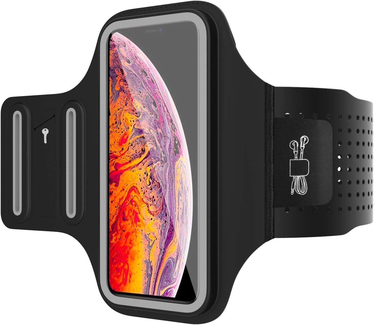 MoKo Brazalete Deportivo para Móvil Compatible con iPhone 11, 11 Pro, 11 Pro MAX, Pixel 4 XL y Otro Dispositivo hasta a 6.5¨, Funda Resistente al Agua con Soporte de Llaves y Cables - Negro