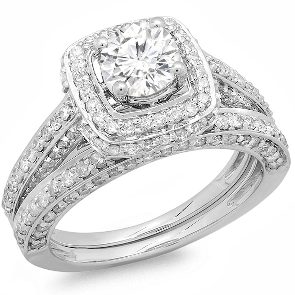 2.00 Carat (ctw) 14k White Gold Round Diamond Ladies Halo Style Bridal Engagement Ring Set Matching Band 2 CT (Size 6) by DazzlingRock Collection