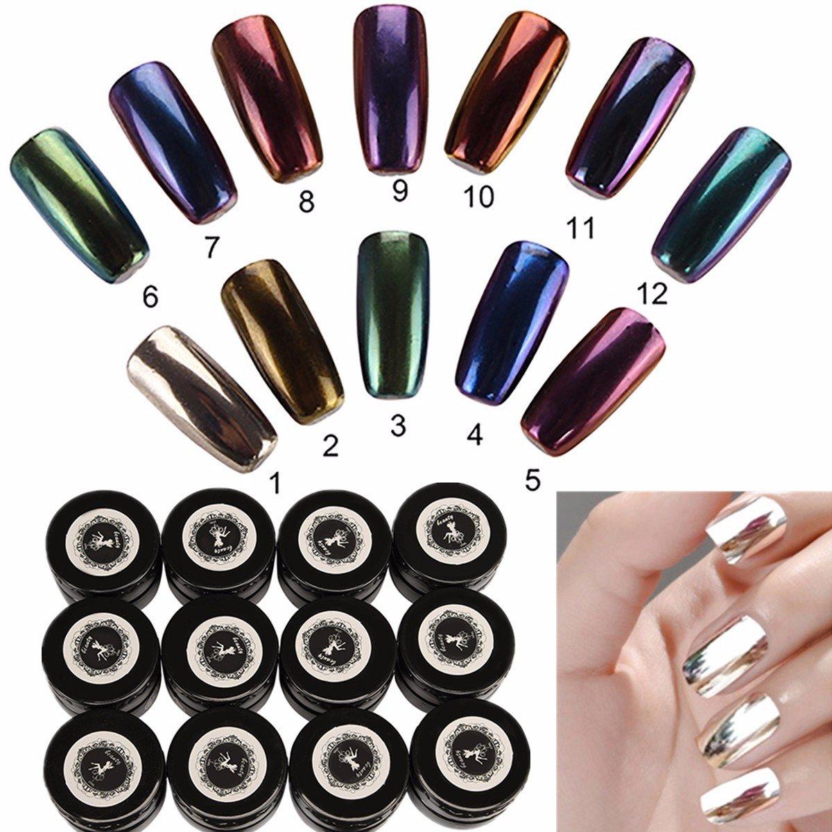 Chrome Nail Powder Mirror DANCINGNAIL 12 Colors 12 bottles Nail ...