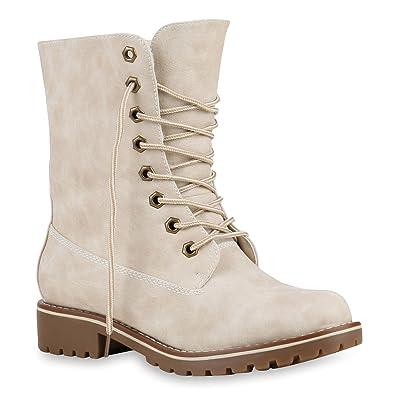 b39ec42453e8b9 Warm Gefütterte Damen Stiefeletten Worker Boots Kunstfell Schuhe 125213  Creme Glatt 36 Flandell