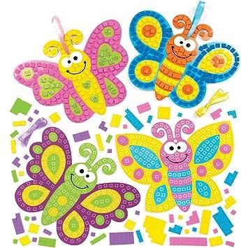 Baker Ross- Kits de mariposas para decorar con mosaicos (Pack de 4 ...