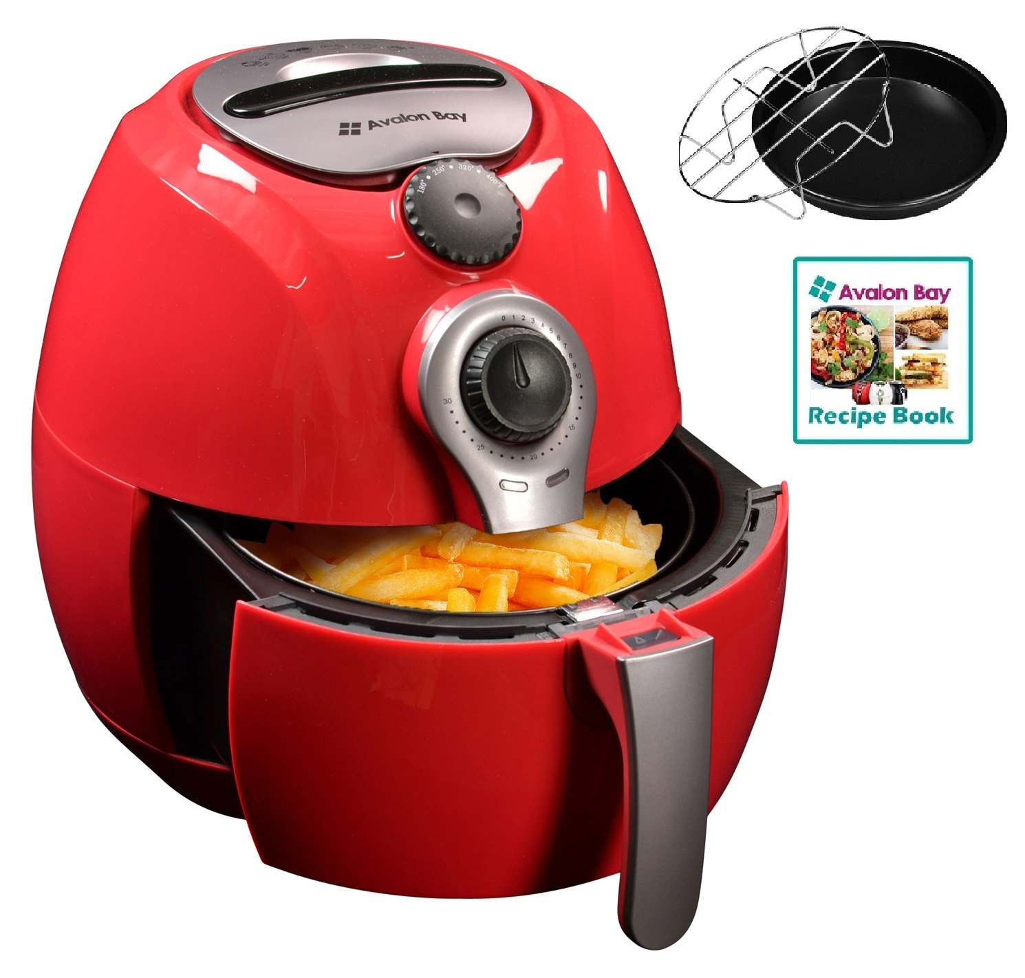 Avalon Bay Air Fryer, For Healthy Oil-Less Fried Food, 3.7 Quart Capacity, Includes Free Airfryer Baking Set and Recipe Book, Red, AB-Airfryer100R