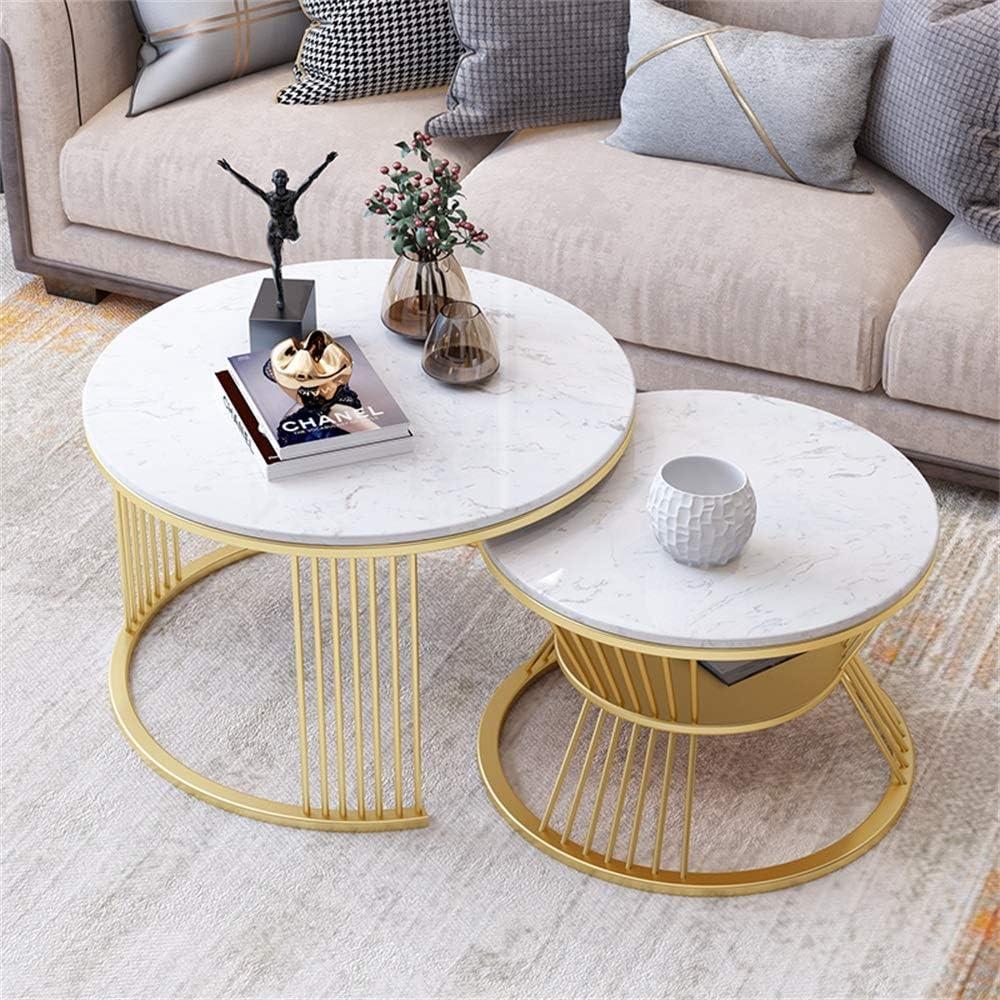 Bijzondere Korting ZRRtables marmeren salontafel 2-delige set salontafels met satijn goud bekleed cocktailtafel voor ronde bijzettafels in de woonkamer, wit A oHmXzWN