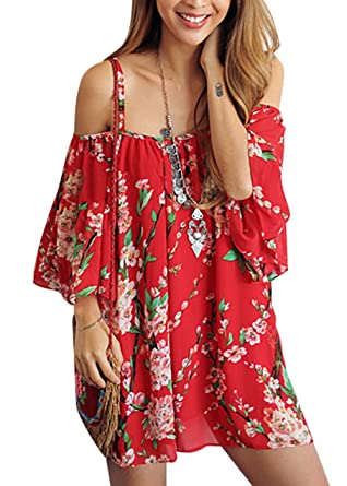 29807f7f80a7 Womens Beachwear Swimwear Bikini Beach Wear Cover up Kaftan Shirt (red)   Amazon.co.uk  Clothing