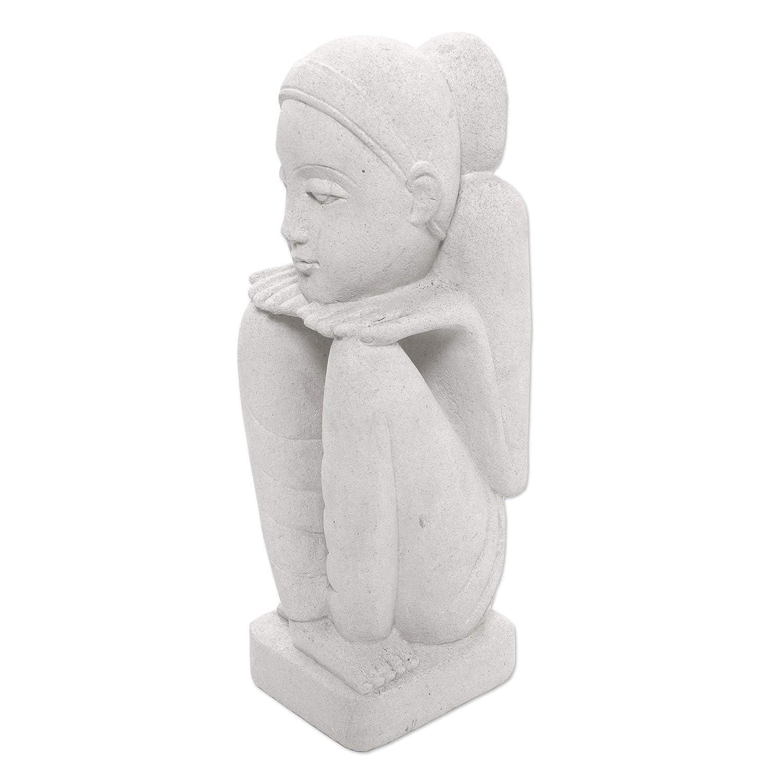 NOVICA 110140 Sensitive Mood Sandstone Sculpture