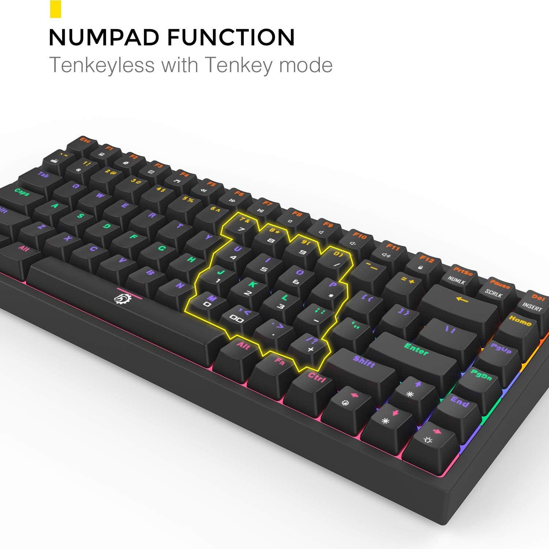 DREVO Gramr Teclado Mecánico Gaming Retroiluminación LED Rainbow, Tamaño 75% Tipo TKL con 84 Teclas QWERTY Keyboard Interruptor Rojo, Negro