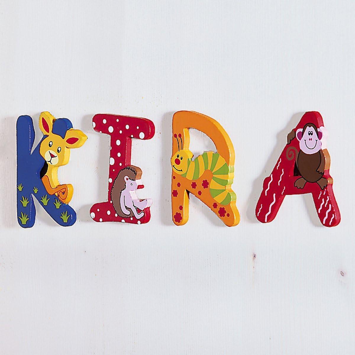 f/ür Kinder ab 3 Jahre farbenfrohe Gestaltung Buchstaben aus Holz f/ür Kinderzimmert/üren solini Holzbuchstaben mit Tiermotiven Mehrfarbig