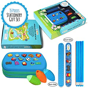 Pencil Pouch Gift Set 15Pcs (Custom Designed) Large Storage, Pen Marker Bag, Pouch Holder, Stationery Box Set, Organizer for School Office, Girls, Adult, Teen, Kids, Boys,Multi-Slot Double Zipper