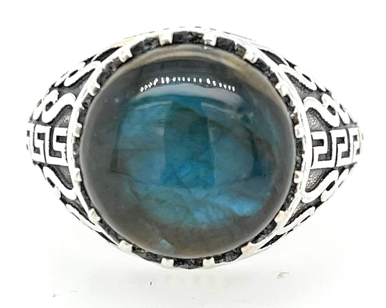 Vintage Large Labradorite Sterling Silver Ring SZ 10.75