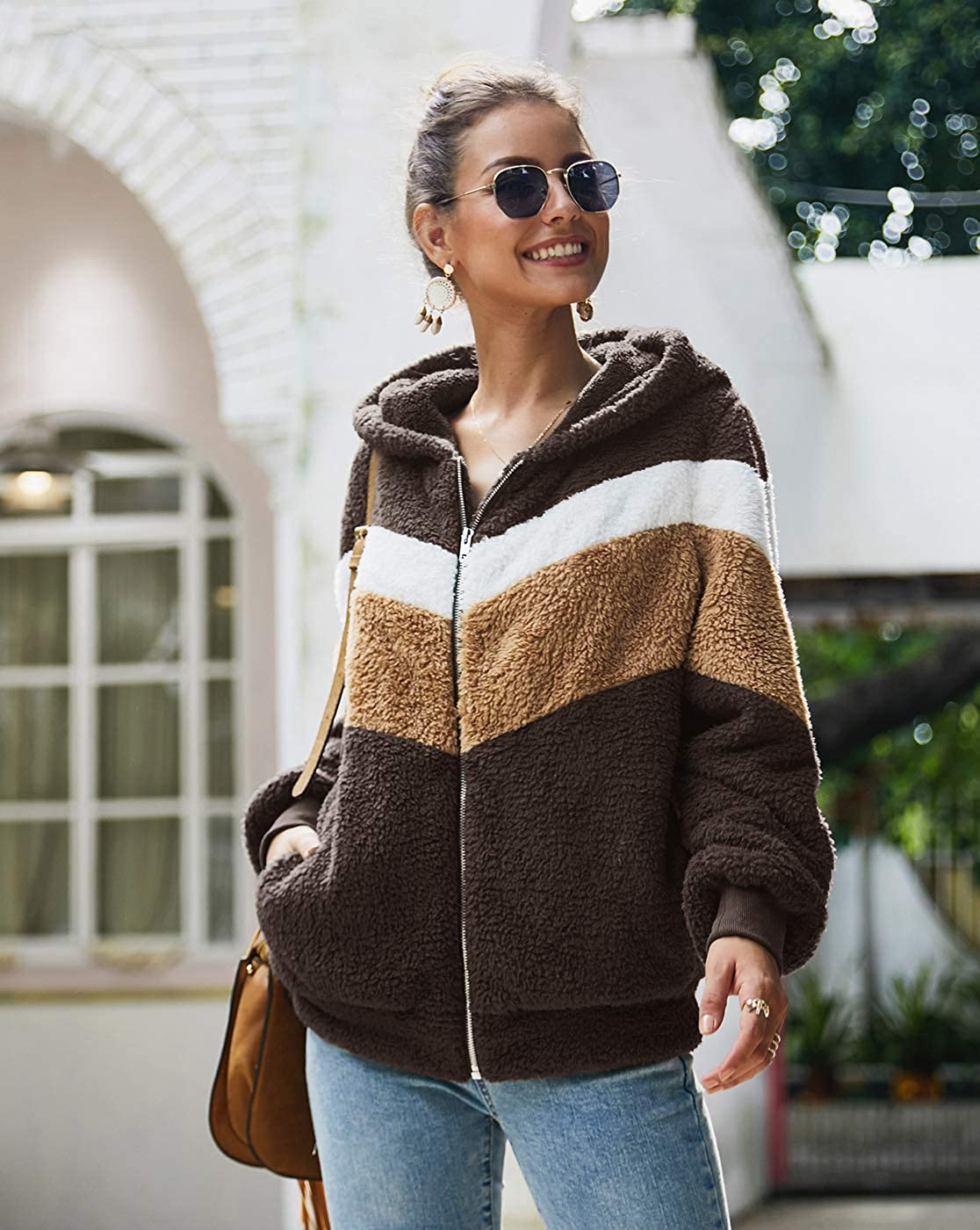 GAMISOTE Womens Faux Fur Hooded Jacket Fleece Zip Up Color Block Striped Hoodies Coat