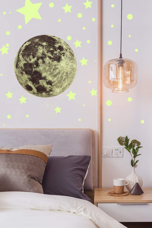 Bricolaje Fluorescente Decoraci/ón de Habitaci/ón de Ni/ño y Ni/ña. Hocaies Pegatinas de Estrellas Fluorescentes Luminoso Pegatinas de Pared Luna Pegatinas de Pared