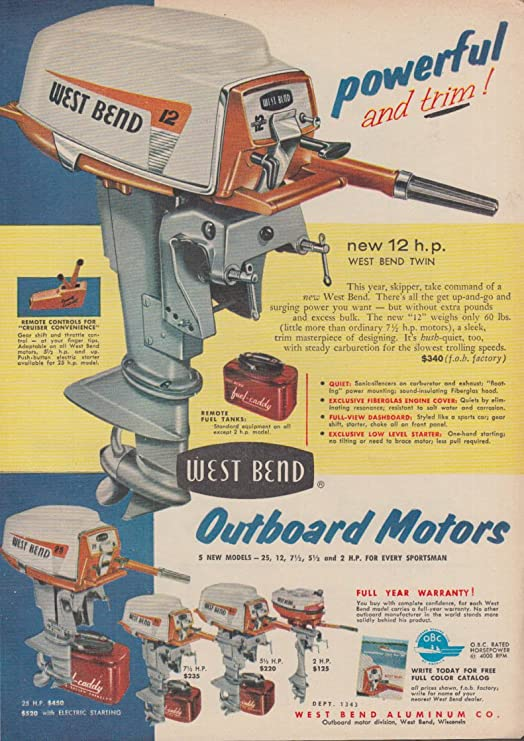 Powerful and trim! West Bend Twin 12 Outboard Motor ad 1956 at