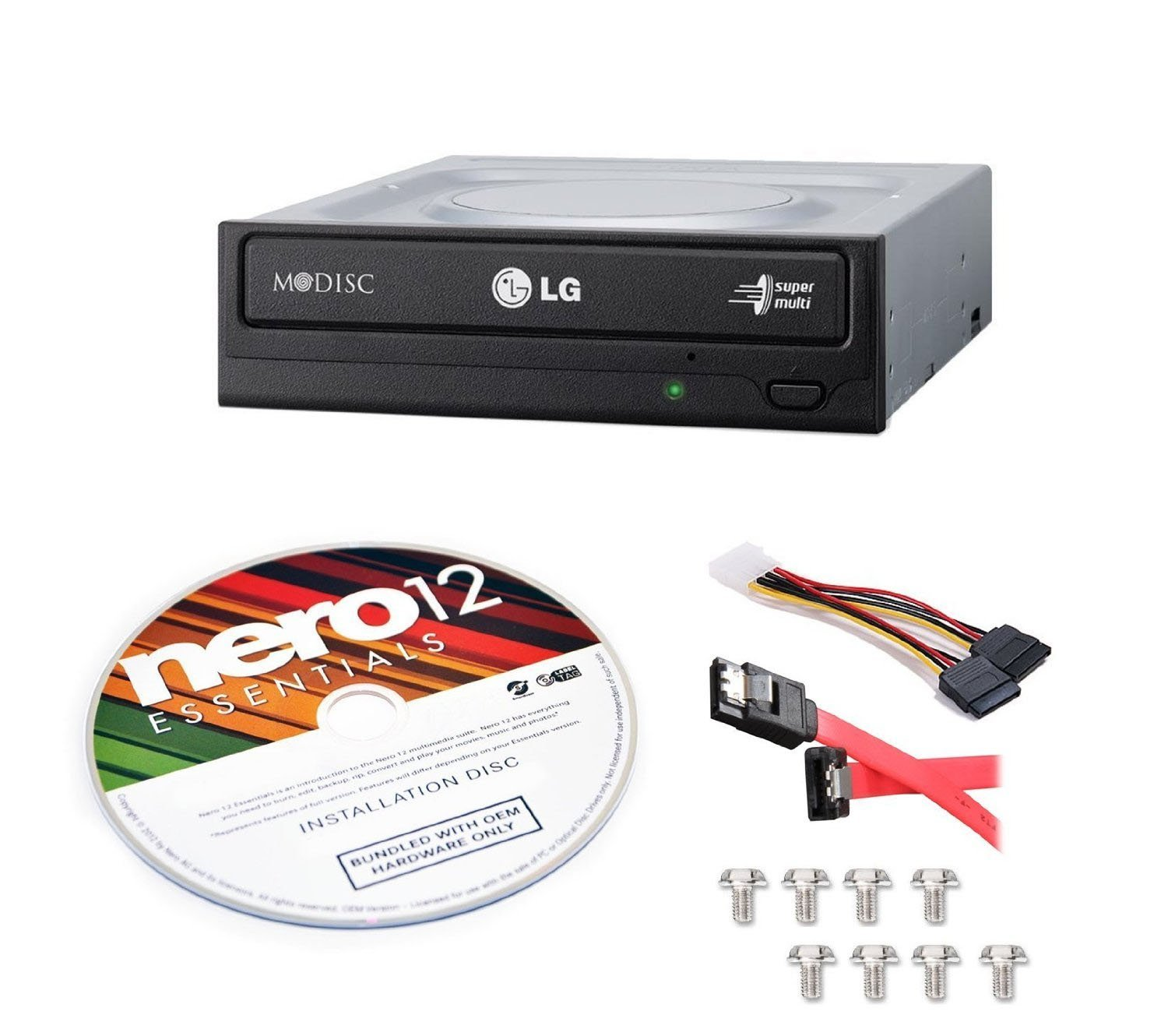 LG Internal 24x Super Multi with M-DISC  Support DVD Burner (GH24NSC0B) Bundle with Nero 12 Essentials Burning Software + Cable Kit