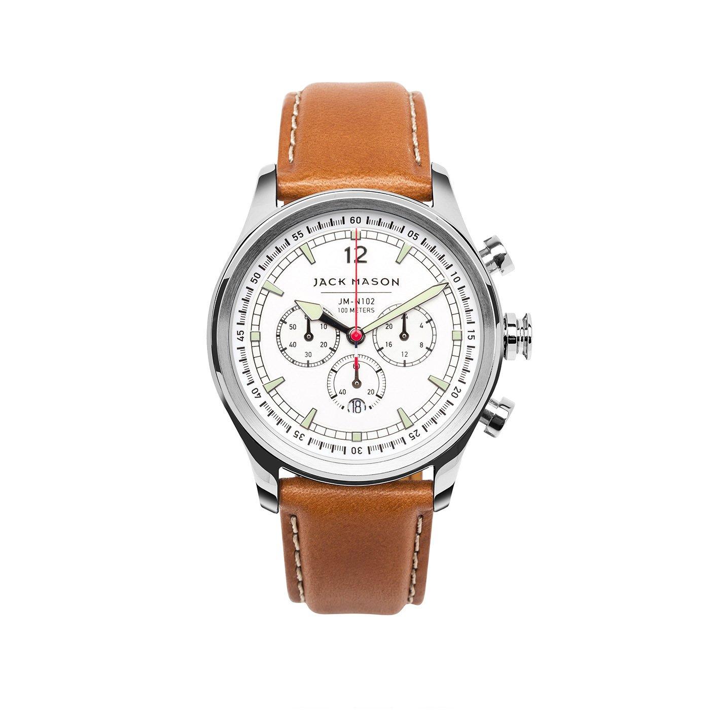 Jack Mason Men's Chronograph Watch Nautical Tan Italian Leather Strap JM-N102-018