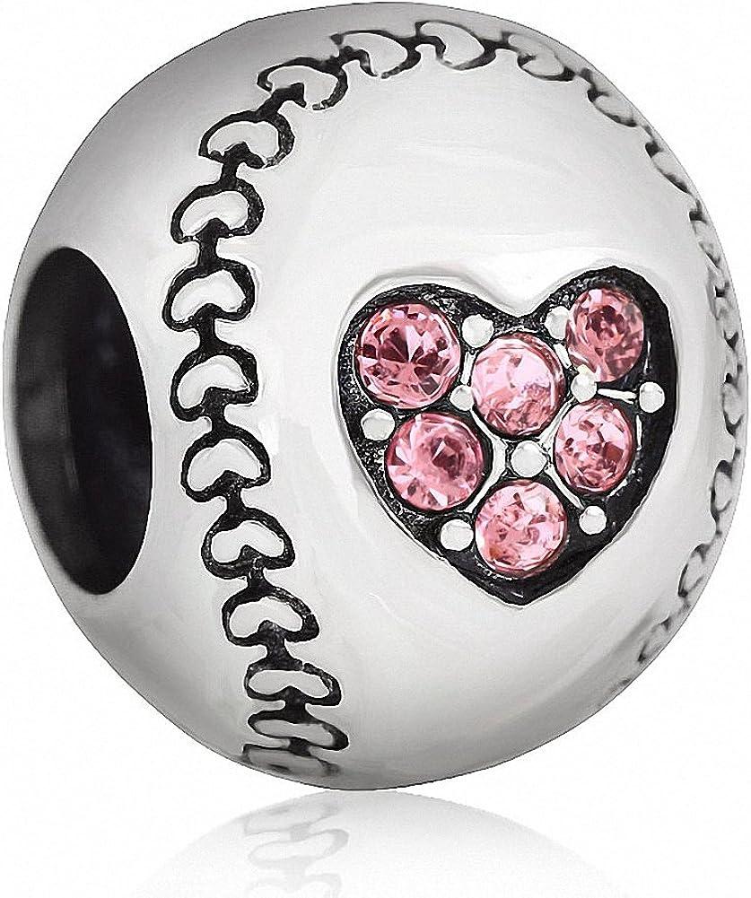 925 Sterling Silver Base-Ball Sport Game Bead for European Charm Bracelets