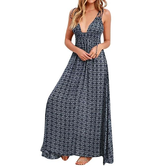 Longra Damen Boho Lang Maxikleid V-Ausschnitt Swing Kleid Rückenfreies Kleid  Blumendruck Spaghetti Strandkleid Sommerkleider a86eac44c8