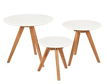 Ts Ideen 3er Set Design Beistelltische Rund Eiche Weiß Kaffeetisch  Couchtisch Nachttisch