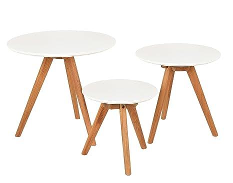 ts-ideen 3er Set Design Beistelltische rund Eiche weiß Kaffeetisch  Couchtisch Nachttisch