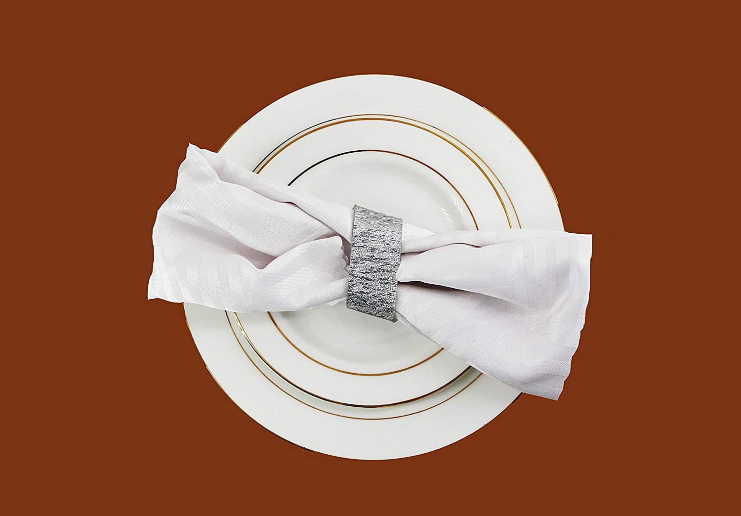 DANXYN Durable Quality Silver Acrylic Napkin Rings Set of 6