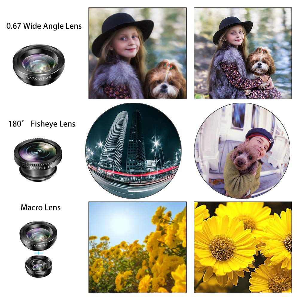 Hvspring Smartphone Camera Lens kit for iPhone 8//7//6 Plus Samsung and Most of Android Smartphone 3 in 1 0.67X 140/° Wide Angle Lens 12.5X Macro Lens More Beautiful Pictures with The iPhone Lens